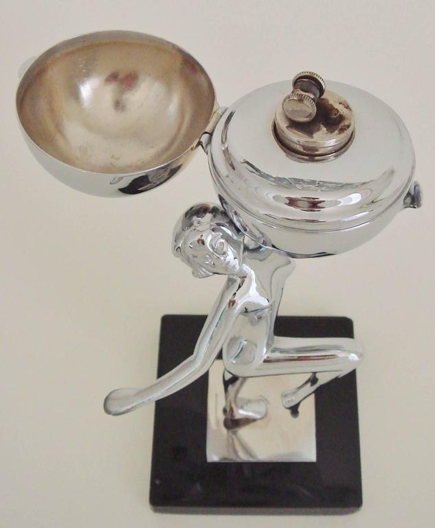 English Art Deco Chrome & Vitrolite Marching Nude Wheel & Flint Table Lighter. In Good Condition For Sale In Port Hope, ON
