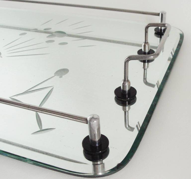 Mid-20th Century Australian Art Deco Etched and Bevelled Mirror Cocktail Tray with Chrome Gallery For Sale