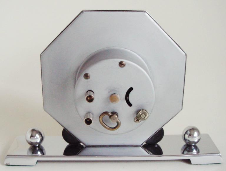 Mid-20th Century German Art Deco Chrome & Bakelite Octagonal Mechanical Alarm Clock. For Sale