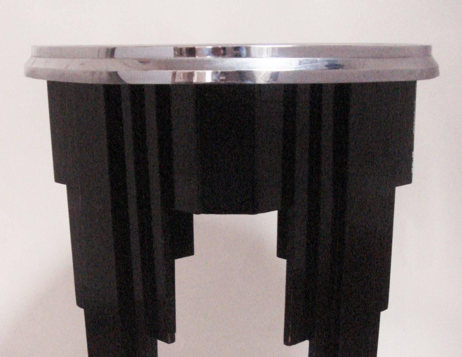 English art deco black painted wood chrome and mirror - Deco table campagne ...