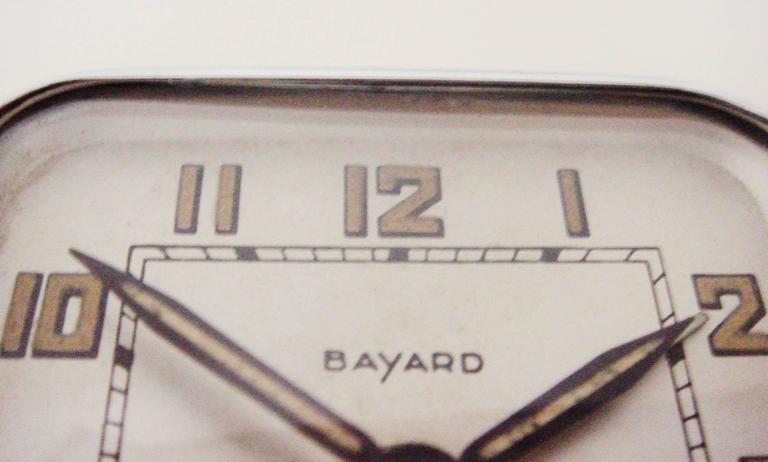 French Art Deco Chromed Bronze Alarm Clock & Integral Dice Paperweight Desk Set For Sale 2
