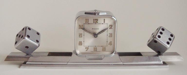 Cast French Art Deco Chromed Bronze Alarm Clock & Integral Dice Paperweight Desk Set For Sale