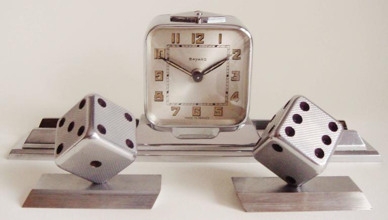 French Art Deco Chromed Bronze Alarm Clock & Integral Dice Paperweight Desk Set In Excellent Condition For Sale In Port Hope, ON