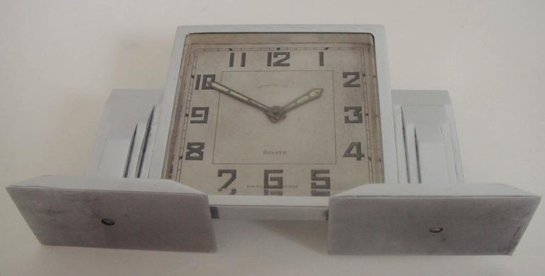High End Swiss Art Deco Chrome-Plated Architectural Mechanical 8-Day Desk Clock For Sale 3