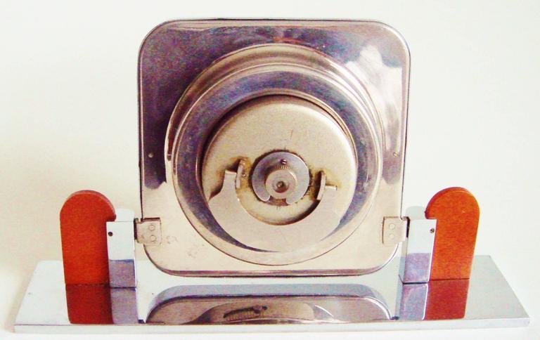 German Art Deco Chrome and Bakelite O&K Presentation Mechanical Table Clock For Sale 1