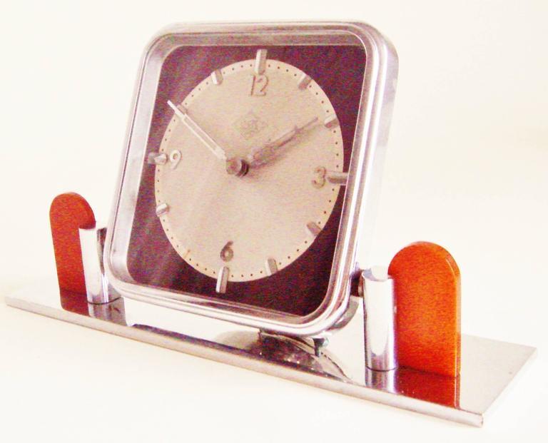 Molded German Art Deco Chrome and Bakelite O&K Presentation Mechanical Table Clock For Sale