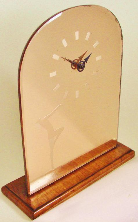 Mid-20th Century English Art Deco Wood & Peach Mirror Mantel Clock with Etched Nude & Numerals For Sale
