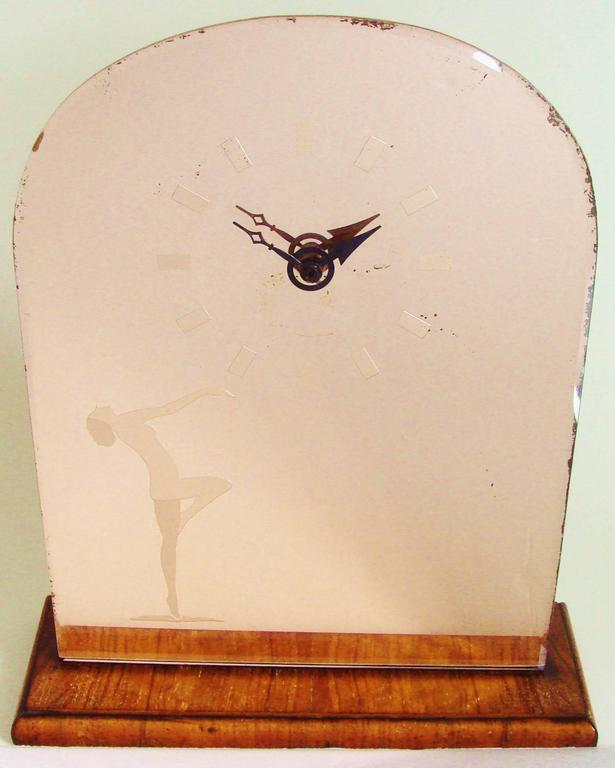 English Art Deco Wood & Peach Mirror Mantel Clock with Etched Nude & Numerals For Sale 3