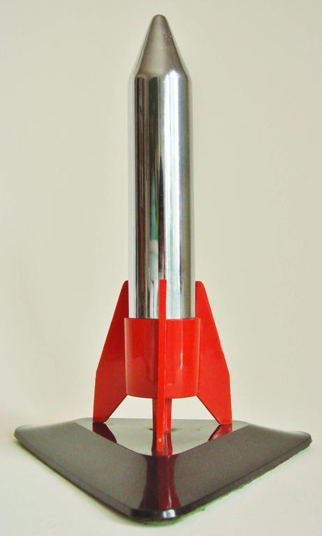 Mid-20th Century Japanese Mid-Century Modern Chrome & Plastic Rocket, Wheel & Flint Table Lighter For Sale