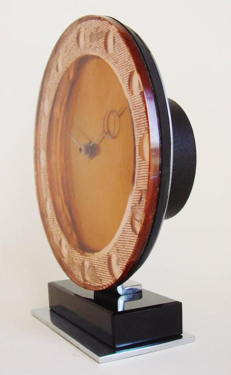 Beveled English Art Deco Peach Mirror, Chrome, Copper & Vitrolite Mechanical Table Clock For Sale