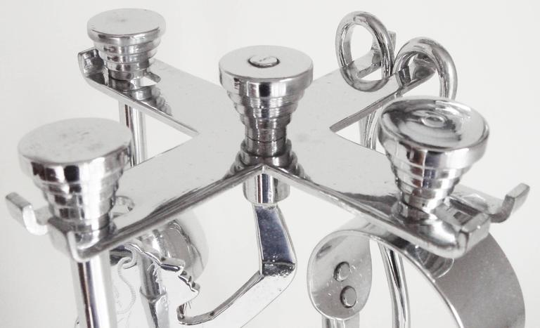English Art Deco Chrome-Plated Trench Art Five-Piece Figural Small Fire-Tool Set For Sale 1