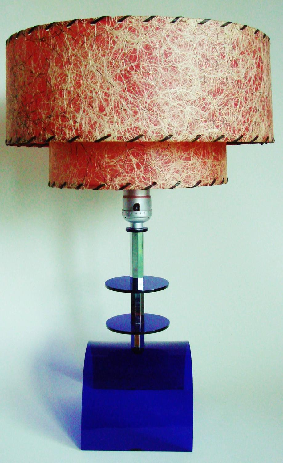 American Mid Century Cobalt Lucite And Chrome Table Lamp
