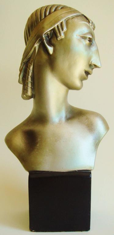 Pair of American Hollywood Regency Metallic Finished Plaster Male & Female Busts 2