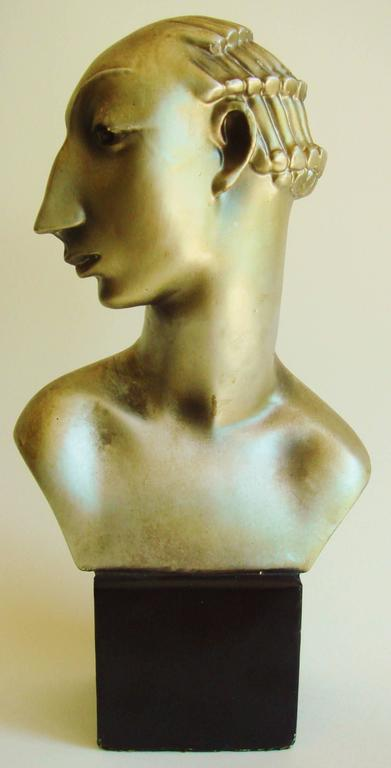 Cold-Painted Pair of American Hollywood Regency Metallic Finished Plaster Male & Female Busts For Sale
