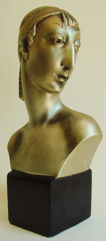 Pair of American Hollywood Regency Metallic Finished Plaster Male & Female Busts 4