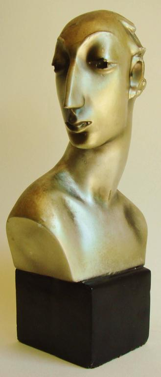 Mid-20th Century Pair of American Hollywood Regency Metallic Finished Plaster Male & Female Busts For Sale