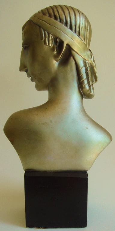 Pair of American Hollywood Regency Metallic Finished Plaster Male & Female Busts For Sale 1