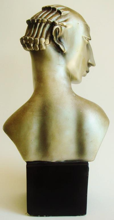 Pair of American Hollywood Regency Metallic Finished Plaster Male & Female Busts For Sale 2