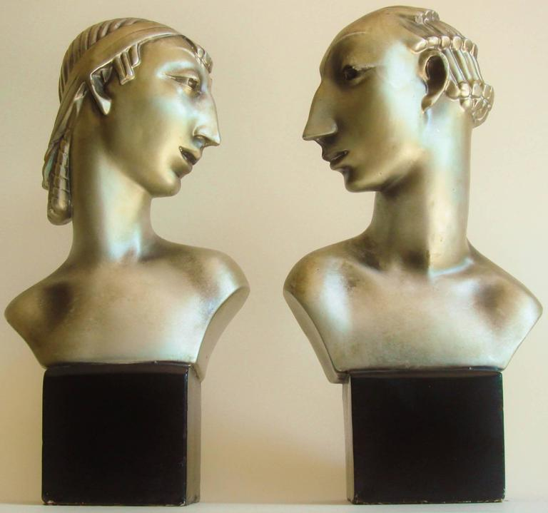 Pair of American Hollywood Regency Metallic Finished Plaster Male & Female Busts 8