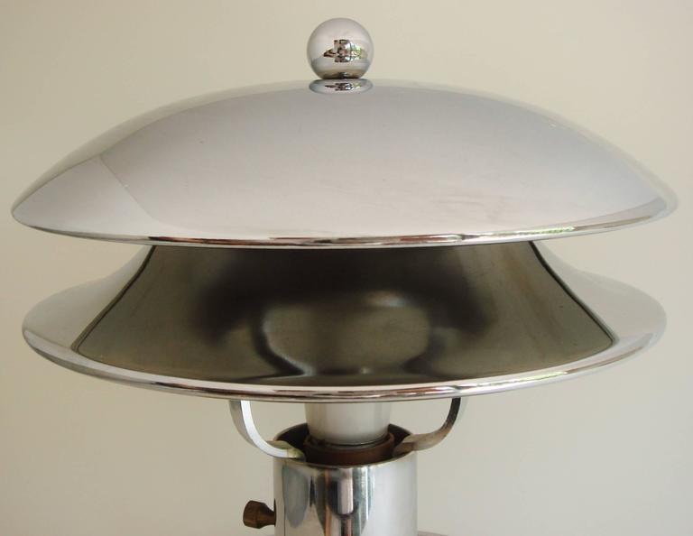 Plated Rare American Art Deco Chrome Ocean Liner Bar/Railway Club Car Lamp/Ashtray For Sale