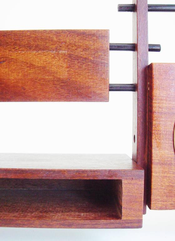 Mid-Century Modern Italian Mid-Century Teak, Rosewood and Black Metal Veglia Mechanical Alarm Clock For Sale