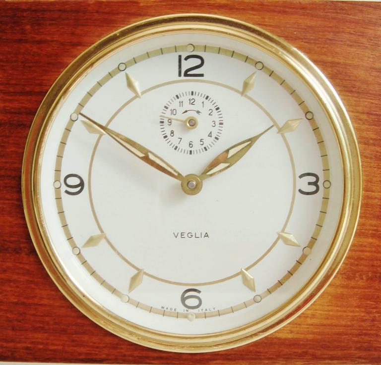 Carved Italian Mid-Century Teak, Rosewood and Black Metal Veglia Mechanical Alarm Clock For Sale
