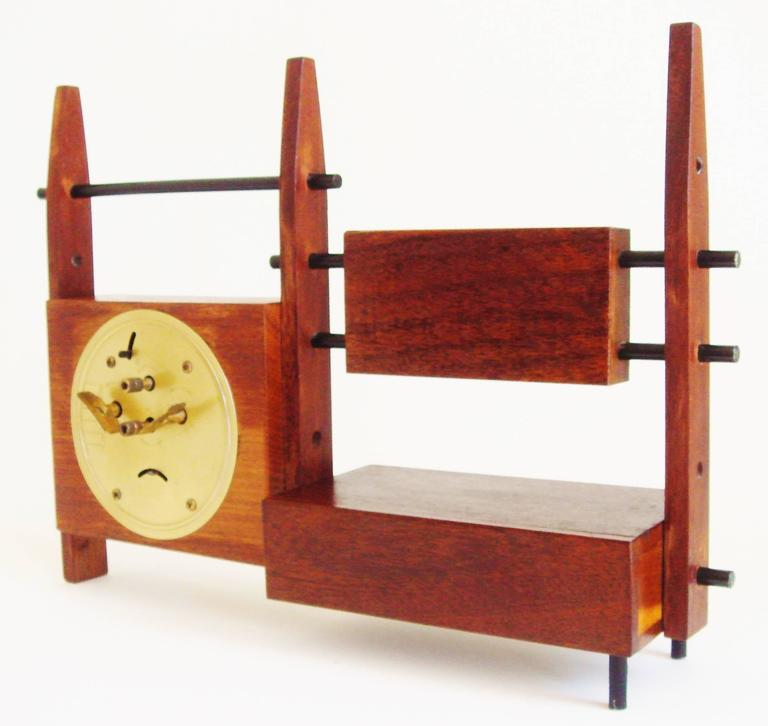 Mid-20th Century Italian Mid-Century Teak, Rosewood and Black Metal Veglia Mechanical Alarm Clock For Sale
