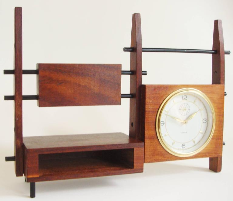 Brass Italian Mid-Century Teak, Rosewood and Black Metal Veglia Mechanical Alarm Clock For Sale