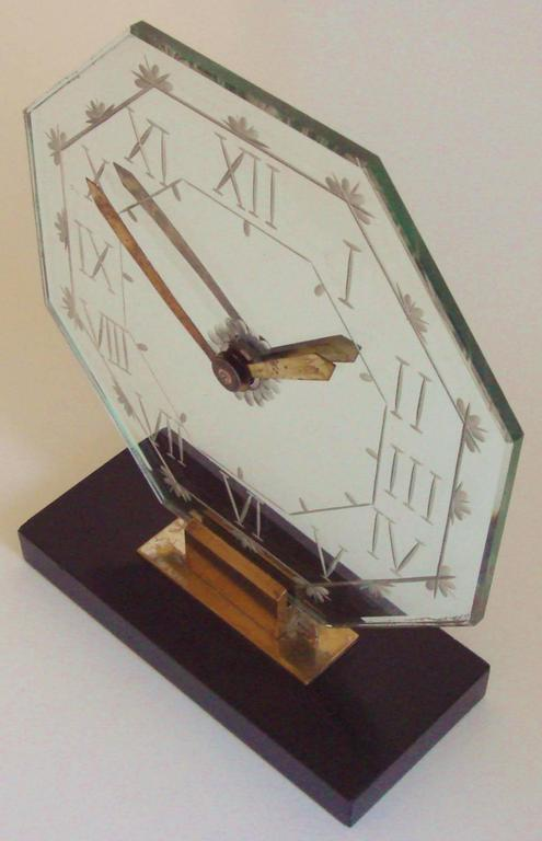 Cast French Art Deco Chrome, Brass, Marble and Wheel-Cut Mirror Mantel Clock by Marti For Sale