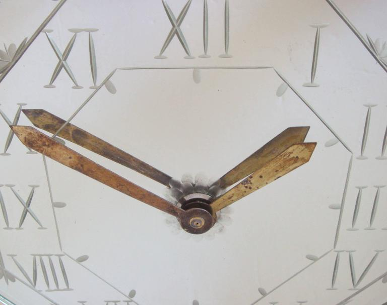 French Art Deco Chrome, Brass, Marble and Wheel-Cut Mirror Mantel Clock by Marti In Good Condition For Sale In Port Hope, ON