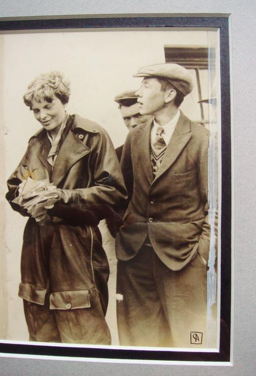 Art Deco Rare AP Photographic Print of Amelia Earhart in Northern Ireland May 20, 1932 For Sale