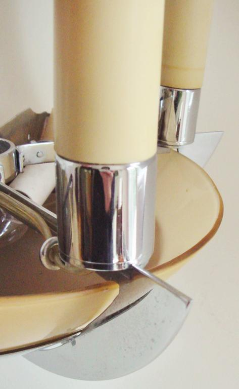 Mid-20th Century English Art Deco Chrome, Glass & Lucite Twin Faux Candle & Bowl Sconce by G.E.C For Sale