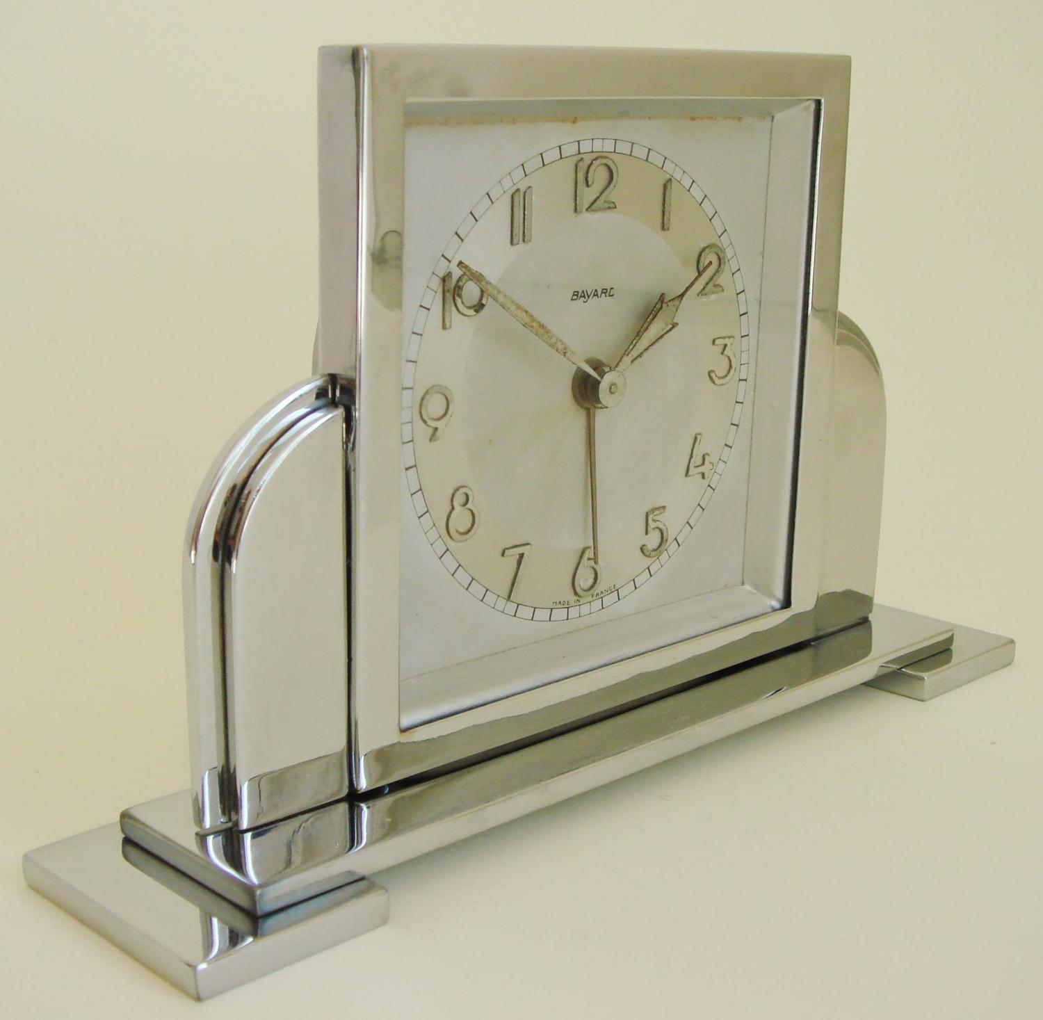 French art deco chrome mechanical architectural alarm Art deco alarm clocks