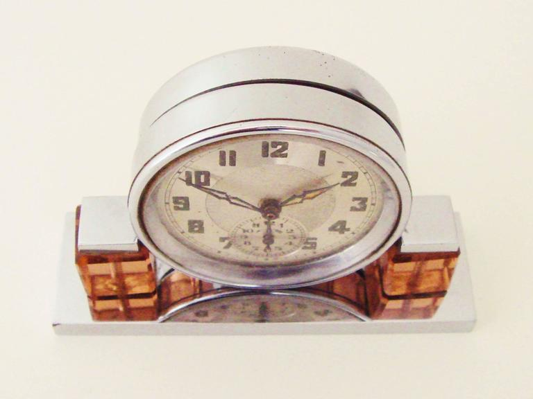 Molded Petite French Art Deco Chrome and Peach Glass Mechanical Alarm Clock For Sale