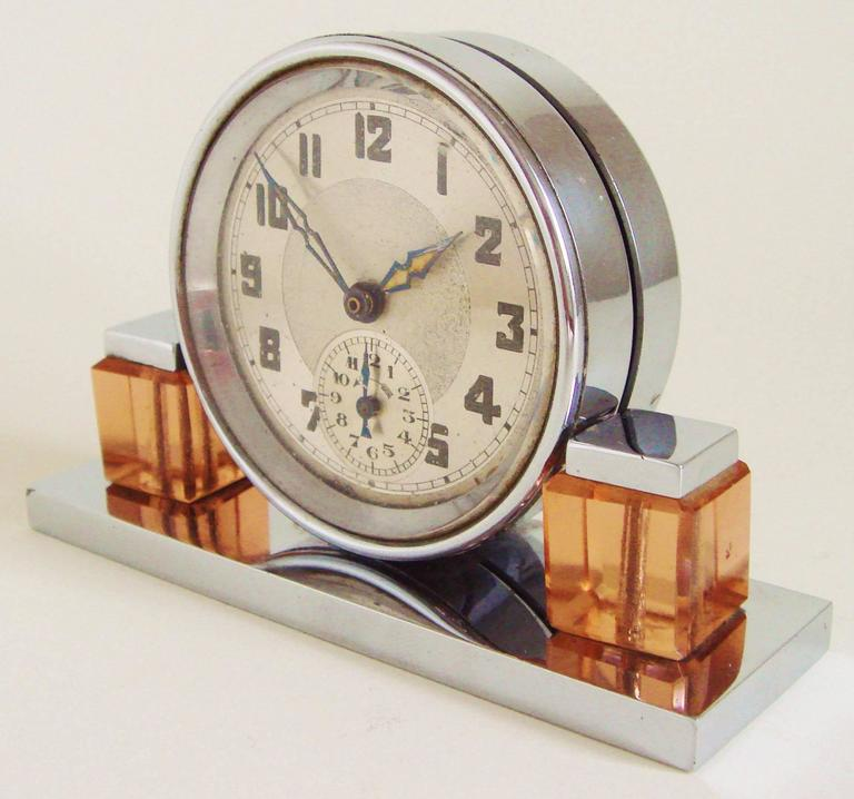Mid-20th Century Petite French Art Deco Chrome and Peach Glass Mechanical Alarm Clock For Sale