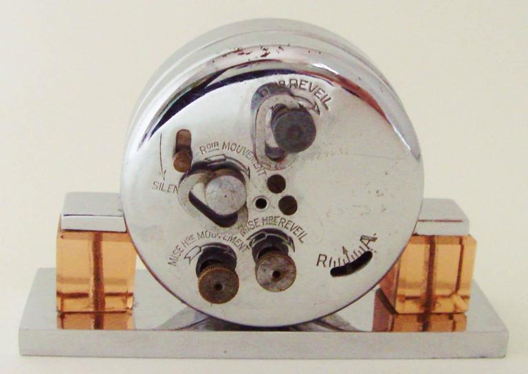 Petite French Art Deco Chrome and Peach Glass Mechanical Alarm Clock For Sale 1