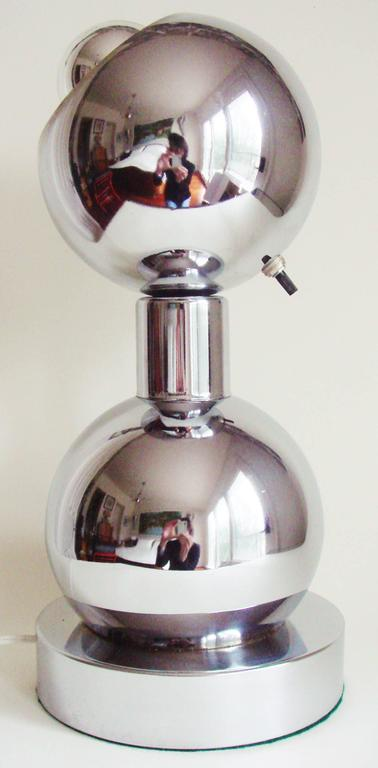 Plated American Space Age Chrome, Double-Sphere Eyeball, Table Mounted Picture Lamp For Sale
