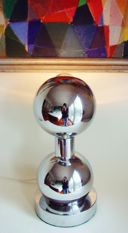 Mid-20th Century American Space Age Chrome, Double-Sphere Eyeball, Table Mounted Picture Lamp For Sale