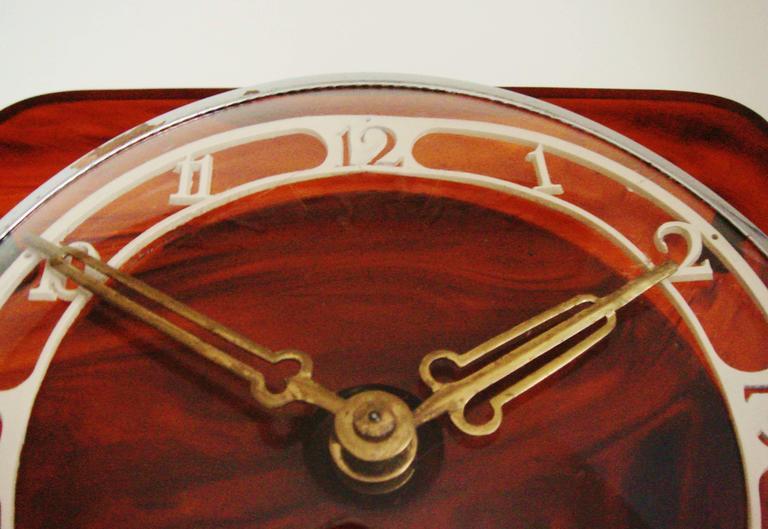 Molded German Art Deco Tortoiseshell Bakelite and Lucite Mechanical Mantel Clock For Sale