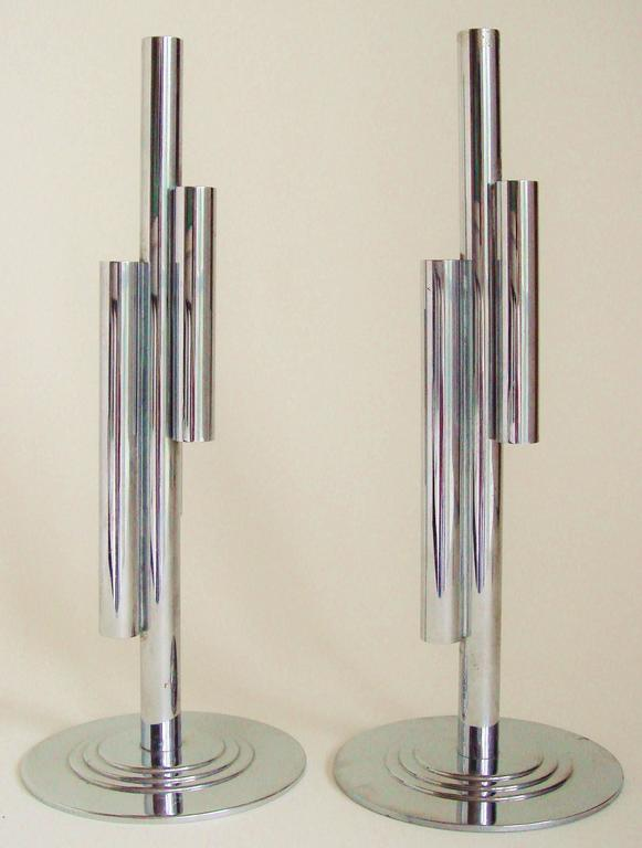 Plated Pair of American Art Deco Chrome Four-Tube Budholders by Gerth & Gerth for Chase For Sale