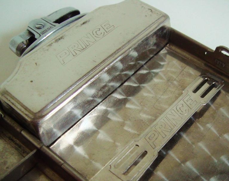 Japanese Mid-Century Etched Chrome Nude Flask & Cigarette Lighter/Case by Prince For Sale 1