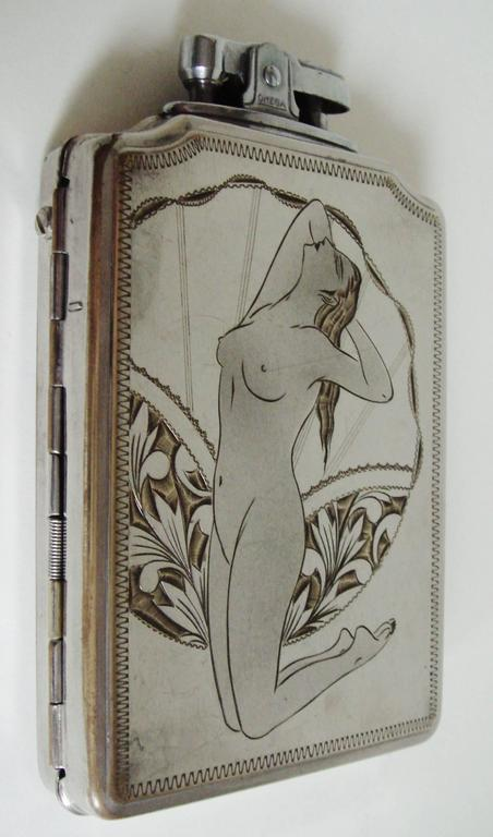 Plated Japanese Mid-Century Etched Chrome Nude Flask & Cigarette Lighter/Case by Prince For Sale