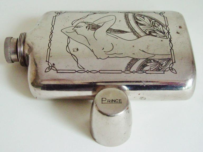 Mid-Century Modern Japanese Mid-Century Etched Chrome Nude Flask & Cigarette Lighter/Case by Prince For Sale