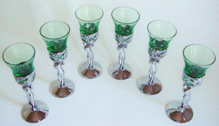 Other Bohemian/czech Art Glass Fashion Style Art Deco Crystal Nude Liquer Glasses 5 Pottery & Glass