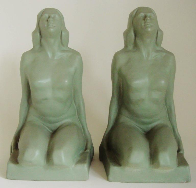 Molded Pair of American Art Deco Green Painted Female Nude Figural Ceramic Bookends For Sale