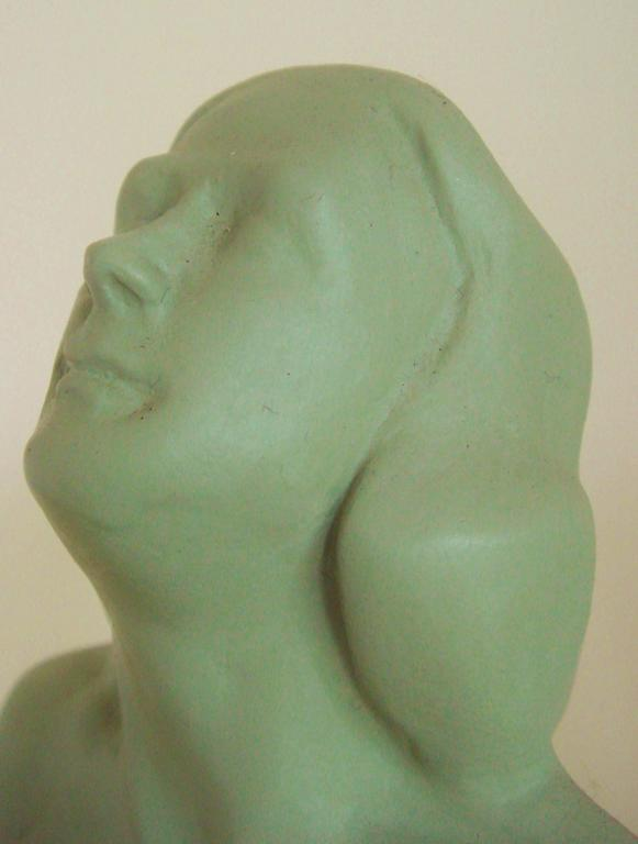 Pair of American Art Deco Green Painted Female Nude Figural Ceramic Bookends For Sale 2