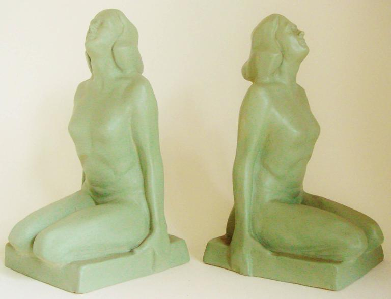 Pair of American Art Deco Green Painted Female Nude Figural Ceramic Bookends For Sale 4