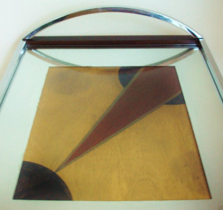 Plated English Art Deco Chrome, Rosewood, Mirror with Polychrome Veneer Cocktail Tray For Sale