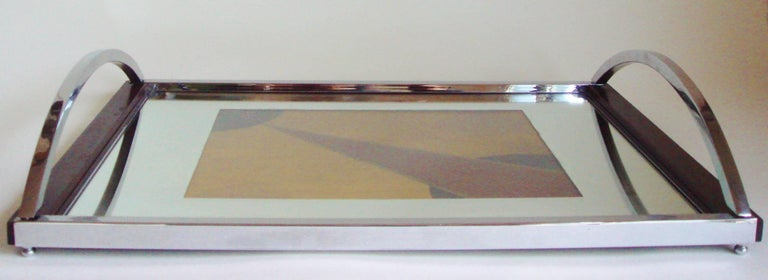 English Art Deco Chrome, Rosewood, Mirror with Polychrome Veneer Cocktail Tray For Sale 1