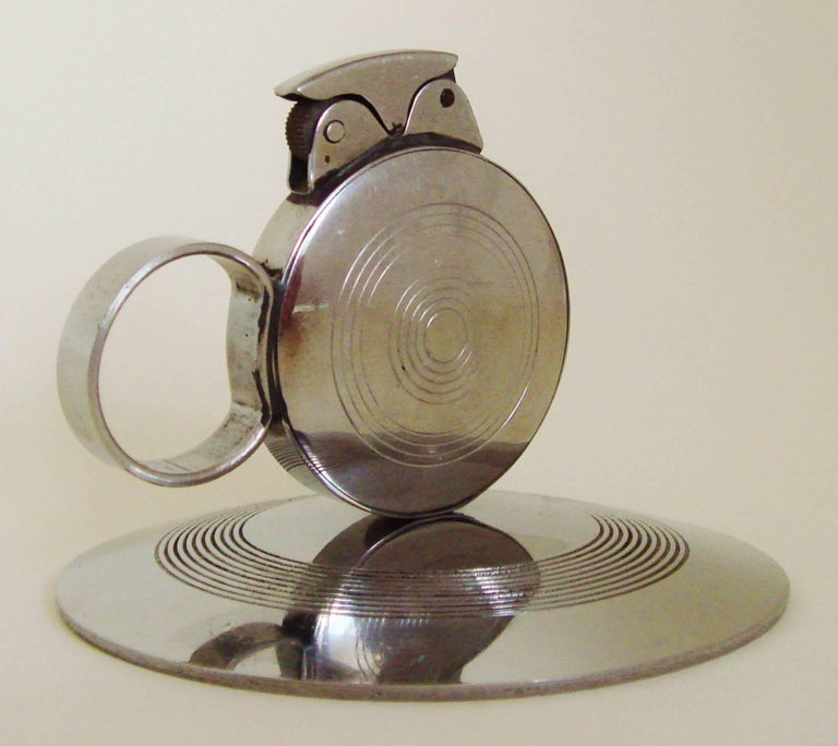 Plated Rare Japanese Art Deco Chrome Chamber-Stick Styled Wheel and Flint Table Lighter For Sale